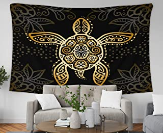 Asdecmoly Easter Printing Psychedelic Tapestry Wall Hanging Tapestries for Living Room and Bedroom 60 Lx60 W Inches Graphic Turtle Tattoo Style Tribal Totem Animal Isolated Art Printing Inhouse