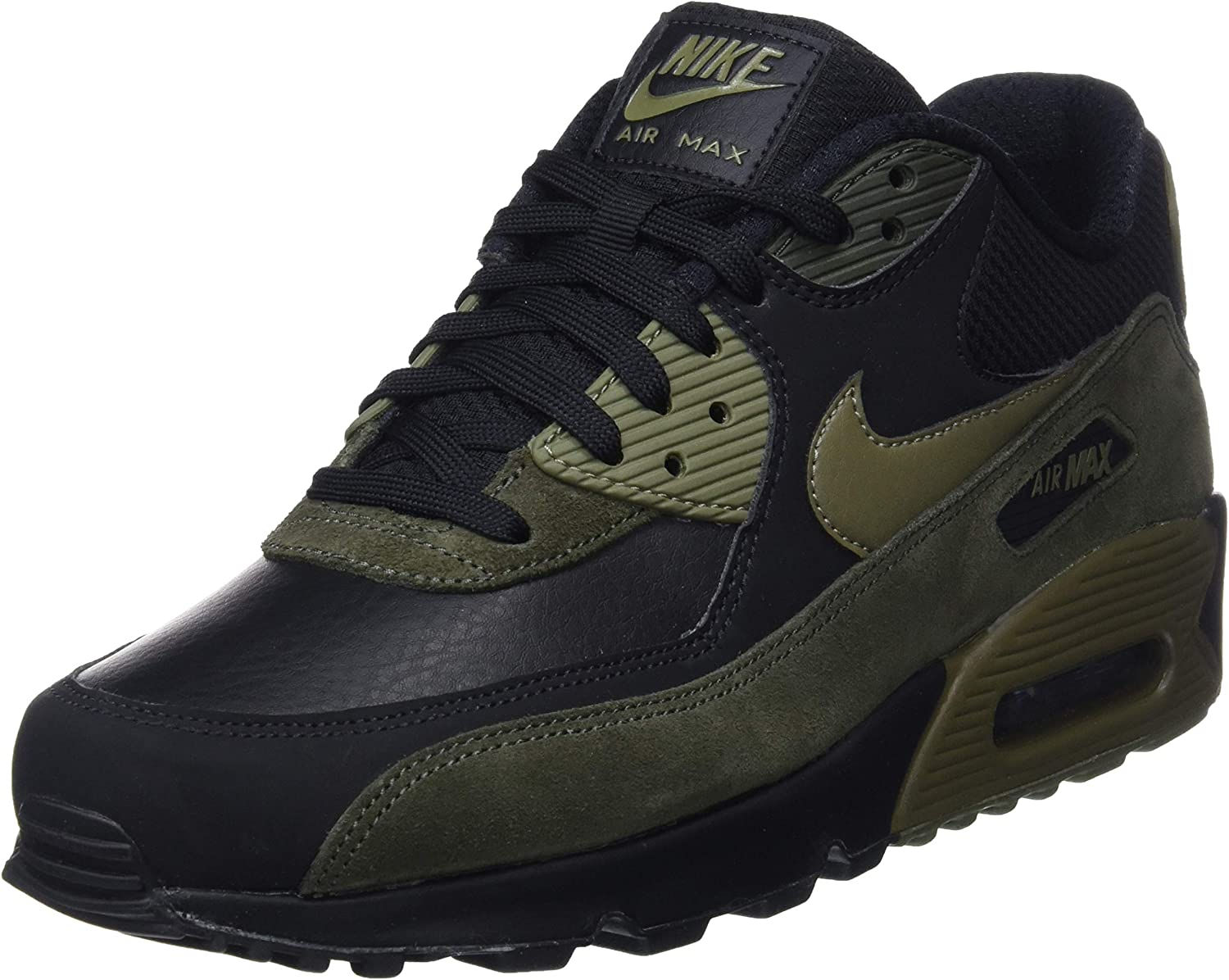 Nike Mens Air Max 90 Leather Running shoes Black Medium Olive Sequoia 302519-014 Size 9