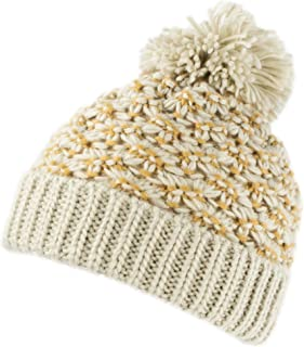 Warm Chunky Cable Knit Winter Skully Cap with Cuff, Dope Beanie Hat with Pom