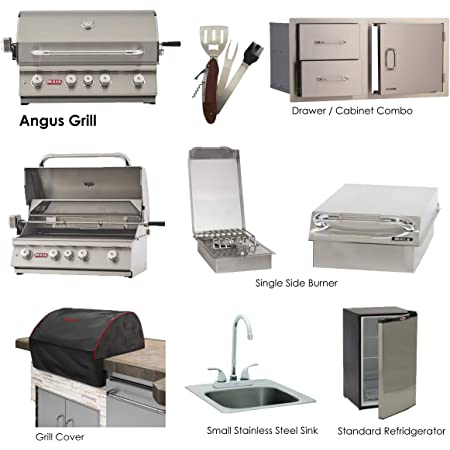 "BULL GRILLS The Angus 30"" Propane Gas Grill Package-Includes Refrigerator, Single Side Burner, FREE Cover, Double Drawer combo & 5-1 BBQ Tool - AMS FIREPLACE PACKAGE"