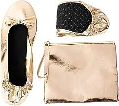 Foldable Ballet Flats - Women's Portable Ballerina Roll up Shoes Pouch