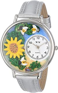 Whimsical Watches Unisex U1210009 Sunflower Silver Leather Watch