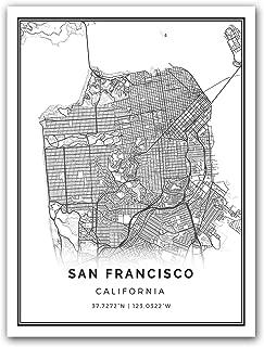 San Francisco map poster print   Modern black and white wall art   Scandinavian home decor   California City prints artwork   Fine art posters 18x24