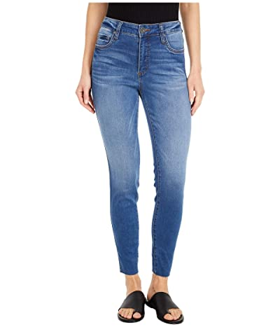 KUT from the Kloth Connie High-Rise Fab Ab Ankle Skinny Raw Hem in Done (Done Wash) Women