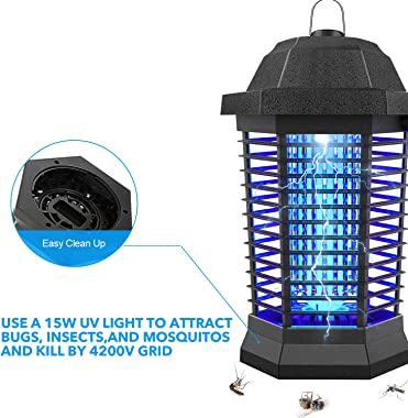 Bug Zapper, Electric Mosquito Zapper Outdoor, InsectTrap Indoor, Electronic Insect Killer for Garden Patio