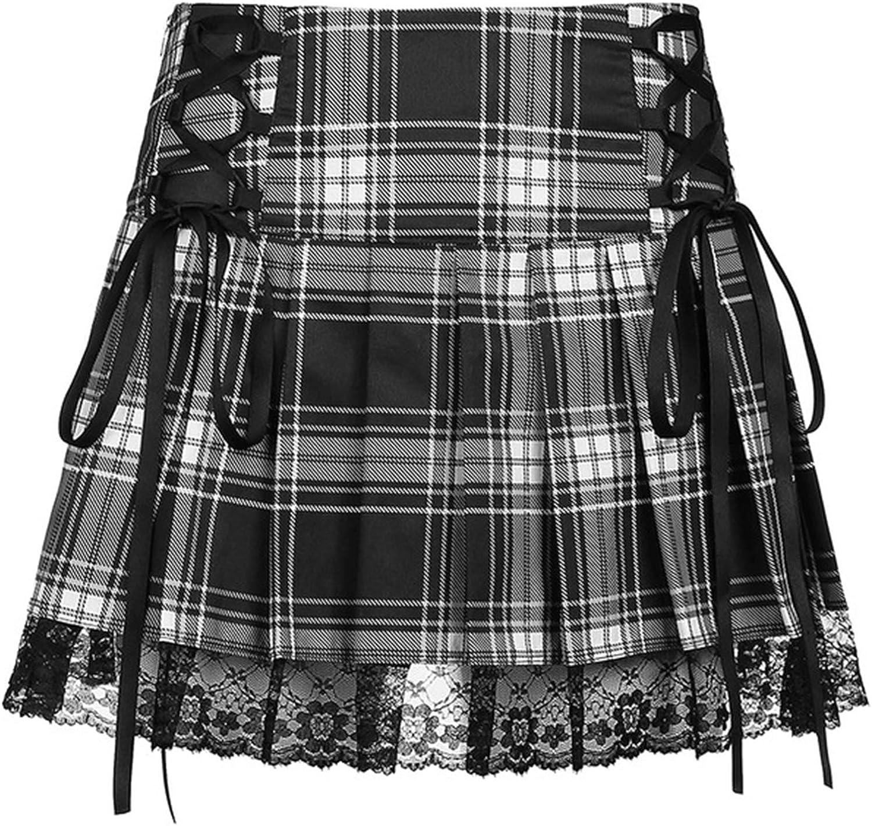 Women Girl Lace Patchwork Mini Pleated Skirts High Waist Harajuku Goth Y2K E-Girl Ruffle Short Skirt