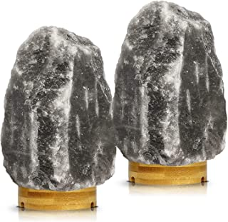 Set of 2 Pack Large Heavy Duty (5-8 lbs) Grey Gray White Himalayan Salt Lamp Night Light Lights Gray Crystal Hymalain Rock Table Lamps, Rubberplatinum Base,Dimmable Switch Control 4 Bulbs Include