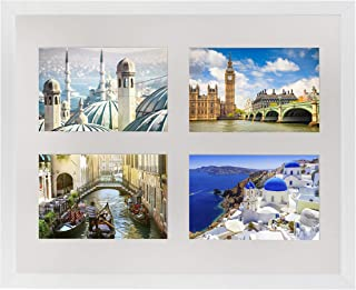 28 x 35 cm Multi Picture Frame Picture Gallery Photo Gallery with Mount and 4 Photo Cut-outs for Photos 10 x 15 cm White
