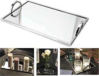 Elegant Silver Mirror Tray – with Chrome Edging and Handles – Rectangle Vanity Tray – Ideal for Ottoman, Coffee Table, Perfume Set, Living Room, Dining Room, Jewelry Tray, Whiskey Decanter Set 12 x 7