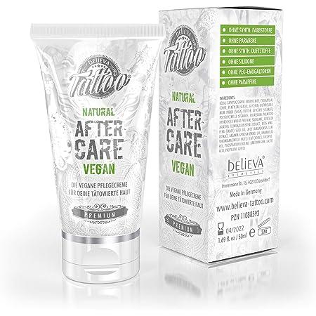 Believa Tattoo Naturale Crema Lenitiva per Tatuaggi - Vegana Cream Curativa Tatuaggio, 50ml