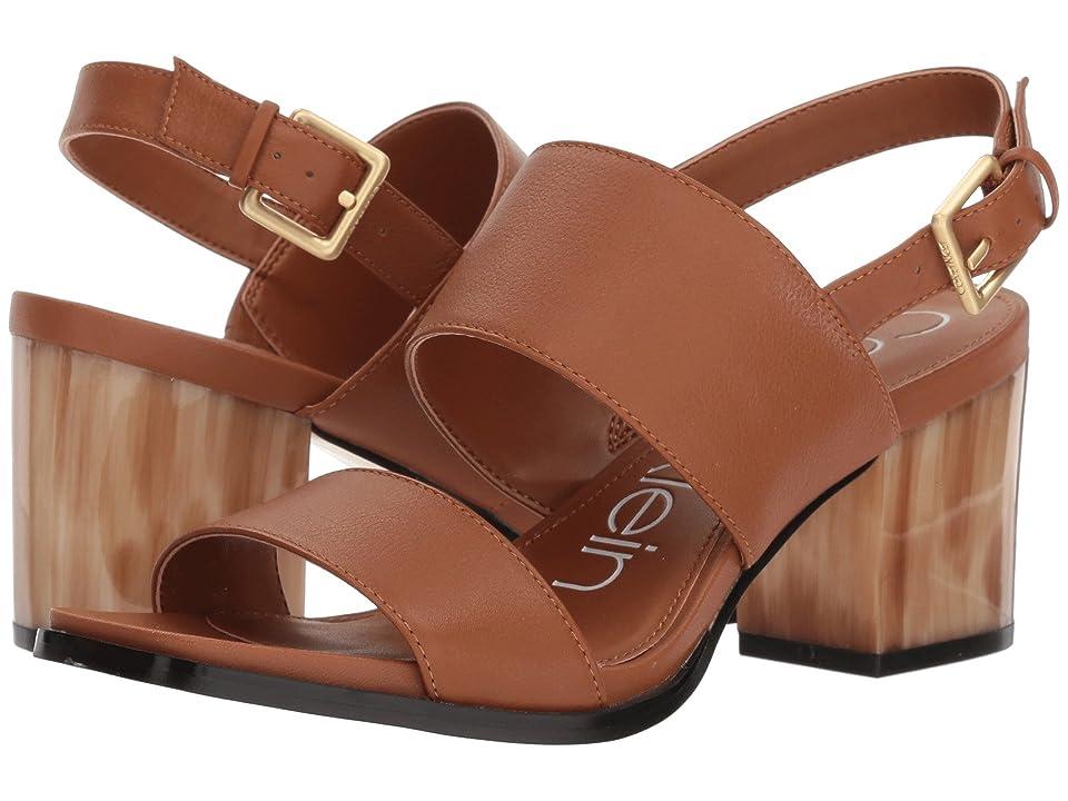 Calvin Klein Rosemary Block Heel Sandal (Cognac) High Heels