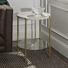 WE Furniture Modern Glam Round Side End Accent Table Living Room, 20 Inch, White Marble, Gold