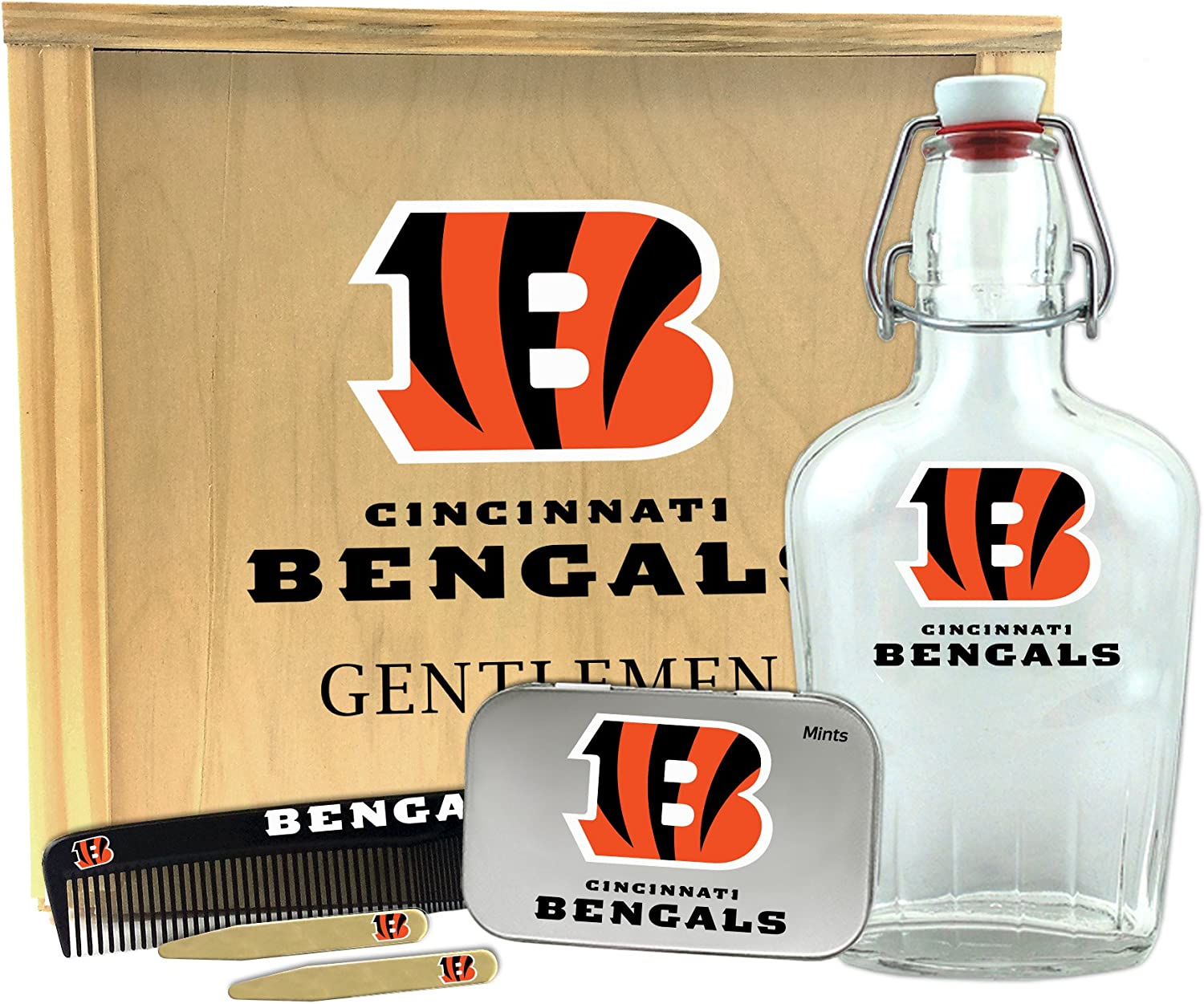 10 x 9 x 3.75 Worthy Promo NFL Cleveland Browns Gentlemens Gift Box-Toiletry Edition 1-250 ml Glass Swing-Top Bottle