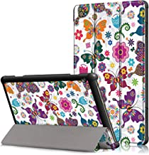 Billionn-AE Case for New Lenovo TAB M10, Slim Folio Trifold Stand Protective, Premium Leather Smart Cover for Lenovo Tab M10 (TB-X605F) 2018 Model Tablet, Butterflies