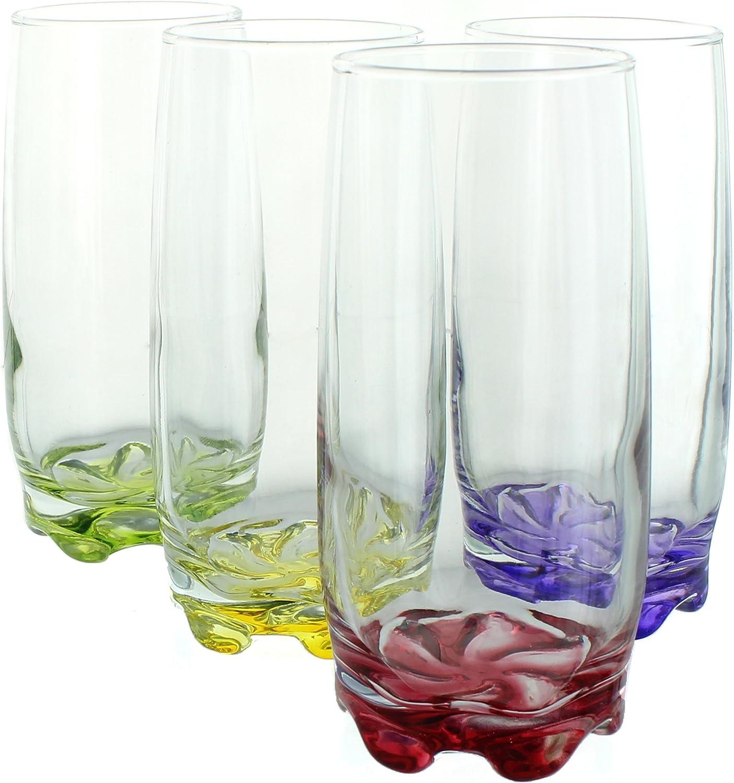 Toque de Color agua y bebidas vaños altos, 12,5oz–Set de 4
