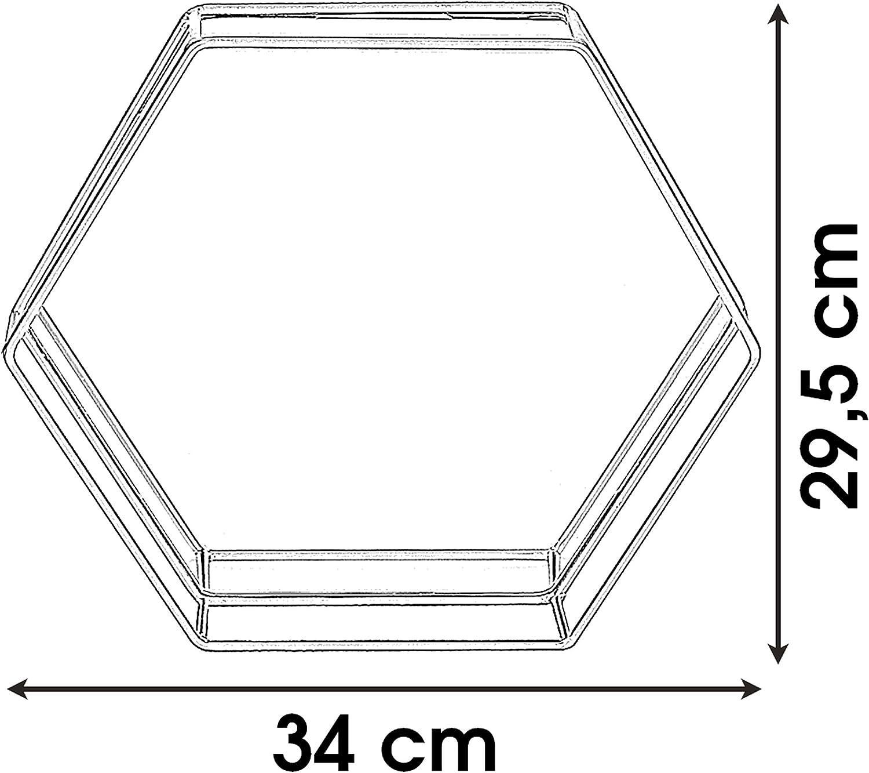 Plateau de service hexagonal avec miroir Medium 30cm x 26cm x 5cm