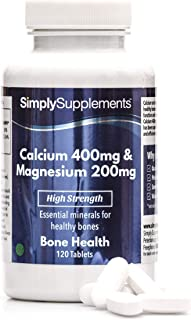 Calcio 400mg y Magnesio 200mg - ¡Bote para 2 meses! - Apto para veganos - 120 Comprimidos - SimplySupplements