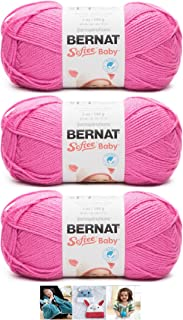 Bernat Softee Baby Acrylic Yarn 3 Pack Bundle Includes 3 Patterns DK Light Worsted #3 (Petunia)