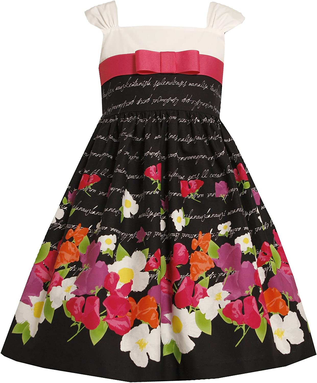 Bonnie Jean Little Girls 4-6X Black/White/Multi Floral Border Cotton A-Line Dress