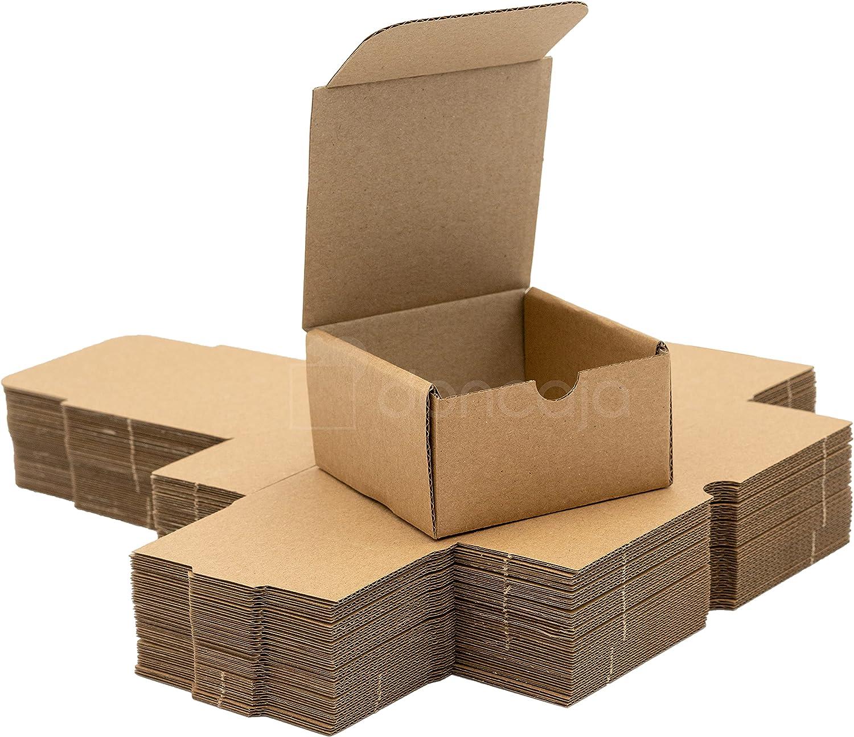 Pack 25 cajas | cartón pequeñas, para envíos ecommerce automontables kraft, paqueteria, joyería, regalo, repostería, jabón, packaging, regalos, envio postal. Medidas 8.5cm * 8.5cm *4.7 cm