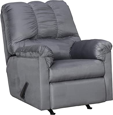 Benjara Fabric Upholstered Rocker Recliner with Tufted Backrest, Gray