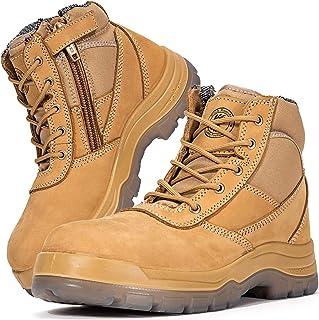 Men's Work Boots, Steel Toe, YKK Zipper, 6 inch, Slip Resistant Safety Oiled Leather..