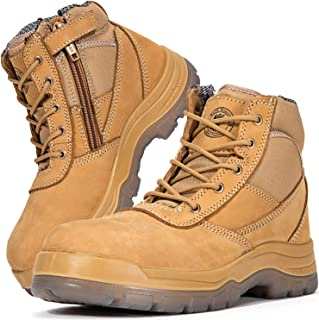Men's Work Boots, Steel Toe, YKK Zipper, 6 inch, Slip Resistant Safety Oiled Leather Shoes, Static Dissipative, Breathable, Quick Dry, AK050