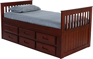 Discovery World Furniture Rake Bed with 6 Drawers, Twin, Merlot