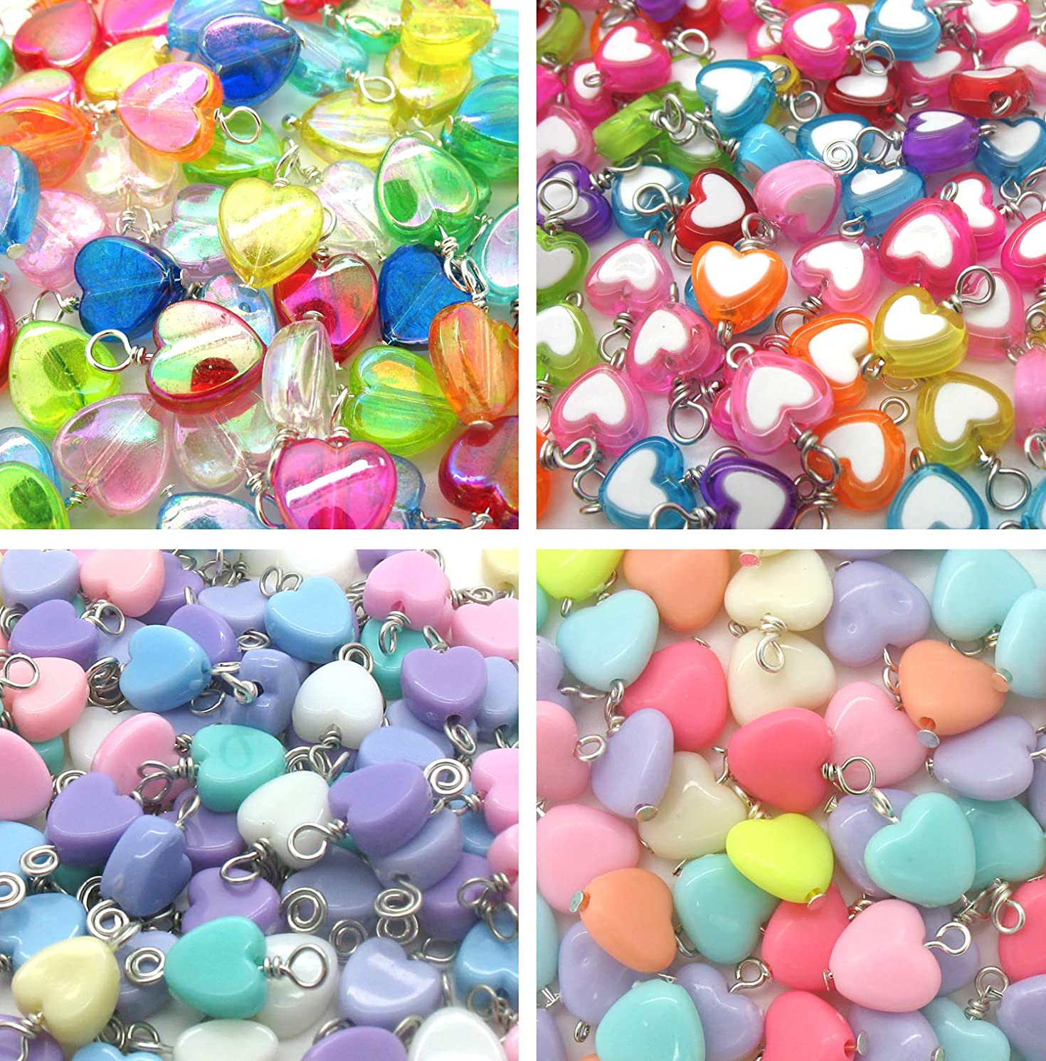 50 Acrylic Heart Charms - Wire-Wrapped Heart Bead Dangles - Assortment of Styles and Colors