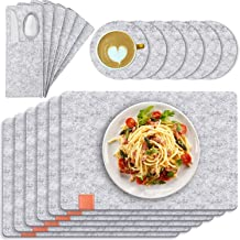 Table Mats, Set of 6 Tendak 19 Pcs Non-Slip Place mat, Washable Felt Placemats with Coasters, Cutlery Bags and Storage Box...