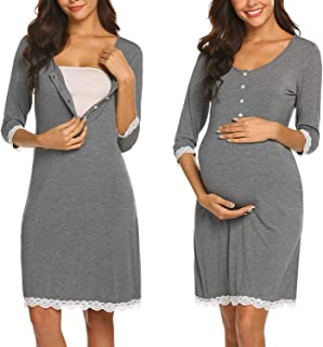 Women Delivery/Labor/Maternity/Nursing Nightgown Long/Short Sleeve Pleated Breastfeeding Sleep Dress(S-XXL)