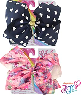 Jojo Siwa Bow for Girls Bundle, 2 Bows - Navy Bow with Rhinestones and Pink with Emoji Icons Hair Bow