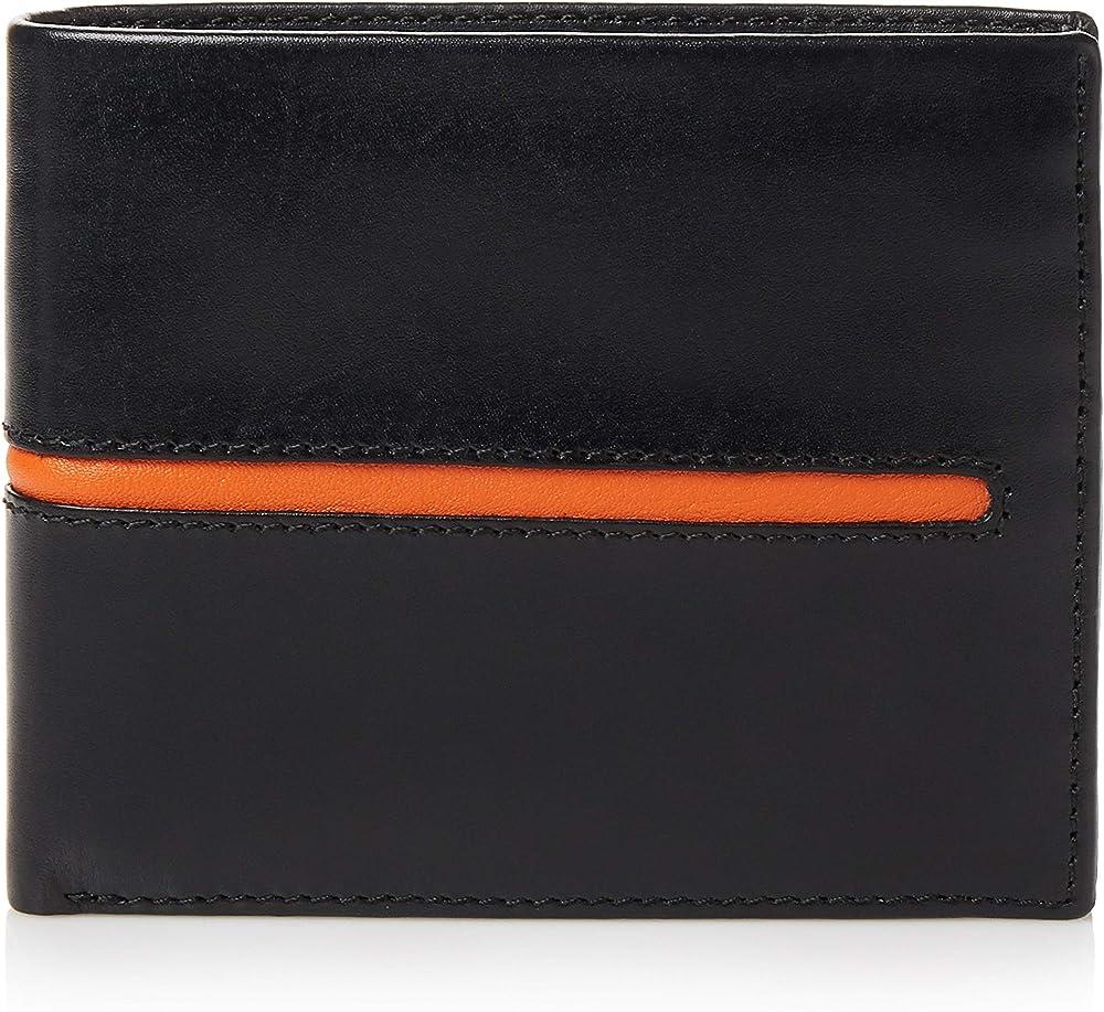 Visconti, porta carte di credito, portafoglio per uomo, in vera pelle, con protezione rfid, nero-arancione