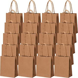 Cooraby 30 Pieces Mini Paper Party Bags 4.72 x 2.36 x 5.9 Inches Small Brown Gift Bag Party Kraft Bags with Handle for Bir...