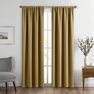 "Elrene SunVeil Vanderbilt Extra Wide Blackout Window Curtain Panel, 52"" x 95"" (1, Gold"