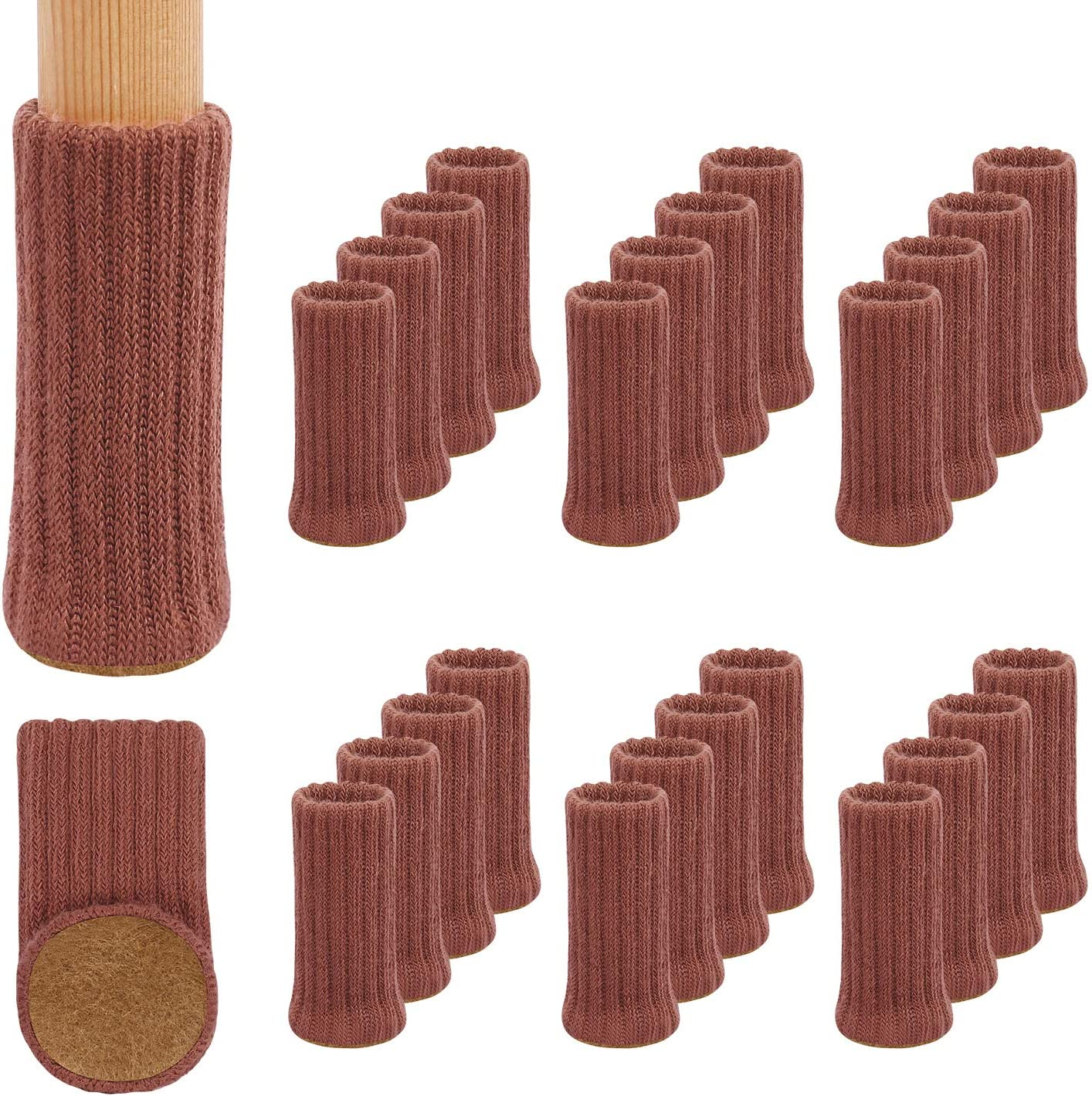 24Pack Furniture Leg Socks, High Elastic Knitted Chair Leg Floor Protectors, Fits All Shapes of Chair Legs with Diameter from 3/4 inch to 1-1/2 inch, Brick Red