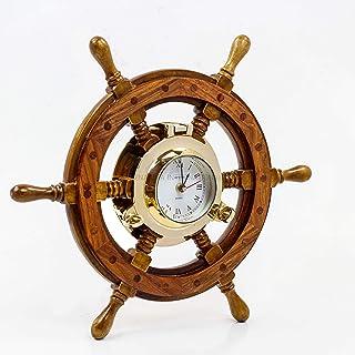 Sailor's Premium Home Decor Time's Clock Nautical Brass Porthole Ship's Wheel | Deluxe Office Decor | Wall Decor | Birthda...