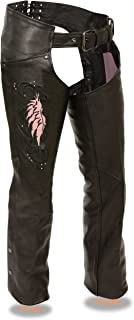 Milwaukee Leather Ladies Leather Chap W/ Wing Embroidery And Rivet Detailing