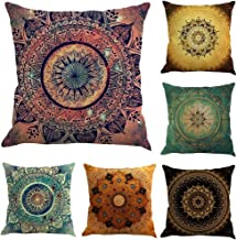 BIBITIME Pack of 6 PCS Bohemian Square Throw Pillow Cushion Case Cover 18x18 Protector Multicolored Flower Decorative Pattern Pillowcase for Couple Bedroom Bed Sofa
