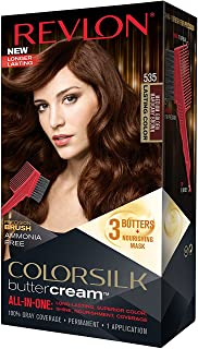 Revlon Colorsilk Buttercream Hair Dye, Medium Golden Mahogany Brown, Pack of 1