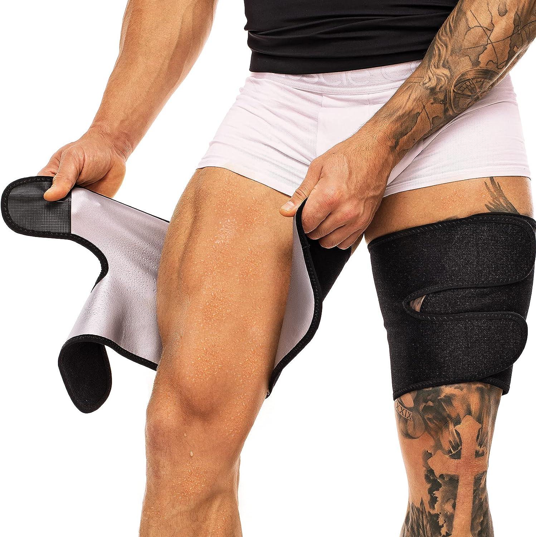 MOLUTAN Premium Thigh Trimmers for Men & Women - Body Wrap Sauna Waist Trainer for Your Legs (Black) : Sports & Outdoors