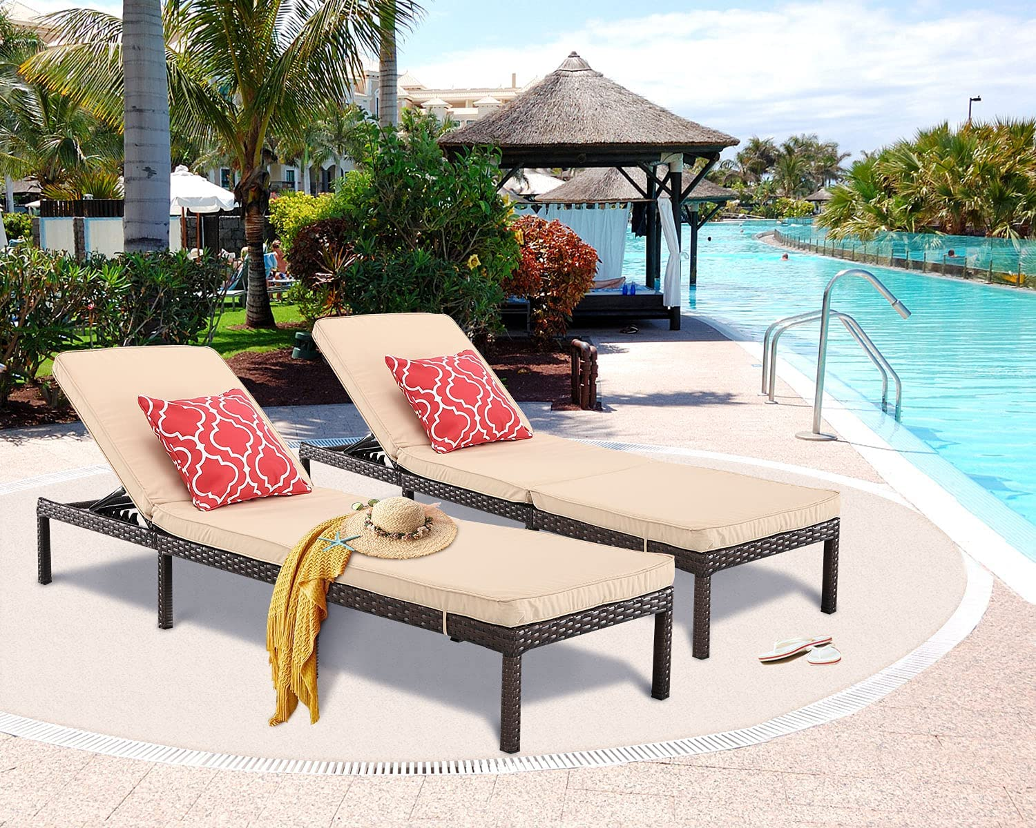 HTTH 2pcs Rattan Chaise Max 57% OFF Lounge All-Weather Outdoor Chairs Patio Sale Special Price