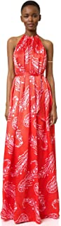 Cynthia Rowley Women's Pleated Maxi Dress with Halter Neck