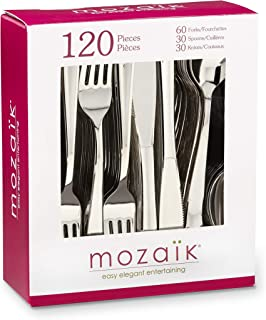 Mozaik Premium Plastic Stainless Steel Coated Assorted Cutlery, 120 pieces