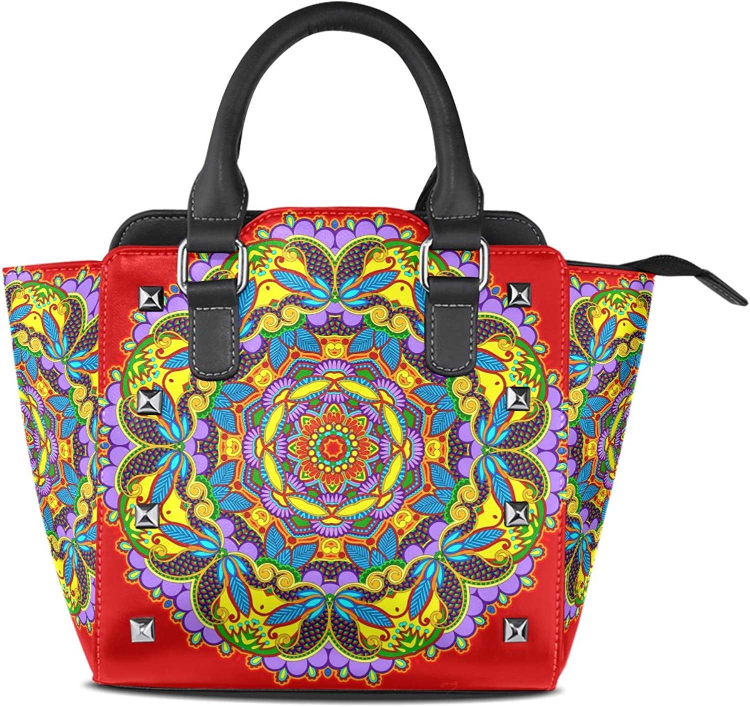 Sunlome Circle Hippie Mandala Bohemian Psychedelic Print Handbags Women's PU Leather Top-Handle Shoulder Bags