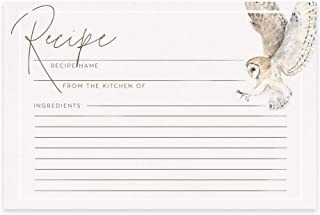Dashleigh Owl Recipe Cards, 48 Double Sided Water Resistant Cards, 4x6 Inches