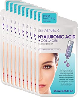 Skin Republic Hyaluronic Acid + Collagen Face Mask Treatment Promotes Younger Looking Skin One Mask Per Pack 10 Pack