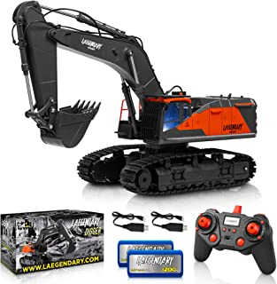 1:14 Scale Large Remote Control Excavator Toy for Boys and Adults – Compatible with Dump Truck RC Construction Vehicles - 22 Channel Full Functional Metal Shovel RC Truck - 2 Batteries & 2 Chargers