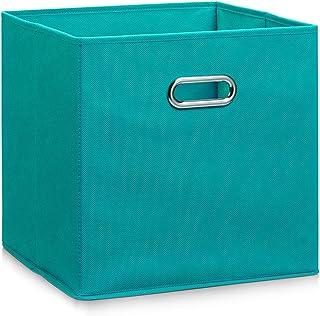 comprar comparacion Zeller 14118 - Caja de almacenaje de tela, plegable, 32 x 32 x 32 cm, color petrol