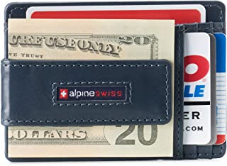 Alpine Swiss Men's RFID Harper Money Clip Front Pocket Wallet Leather York Collection